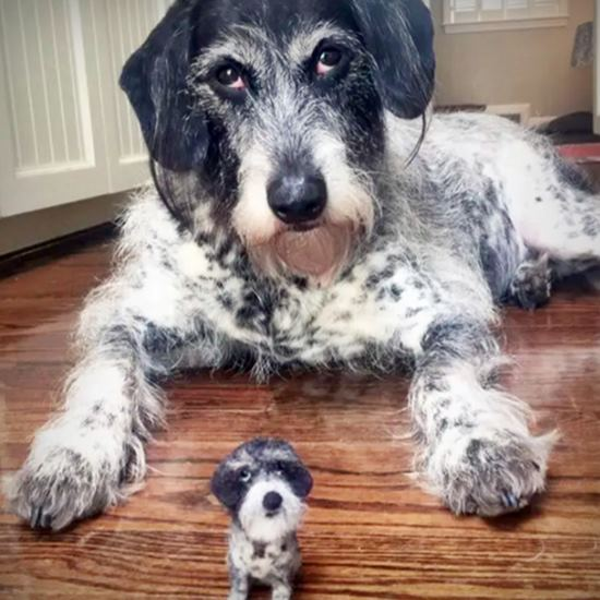 Black and white dog with tiny felted doppelganger