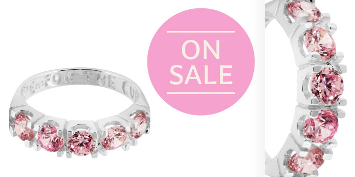 Hope For the Cure Pink Crystal & Sterling Ring