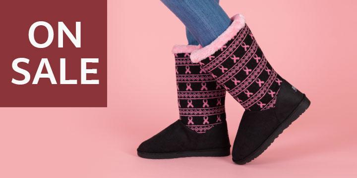 Pink Ribbon Knit Boots