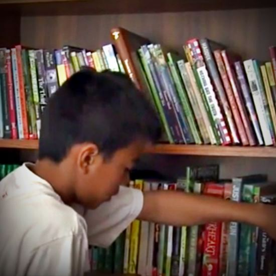 Boy with a shelf of books