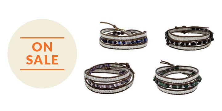 Stone 3x Wrap Earth Collection Bracelet