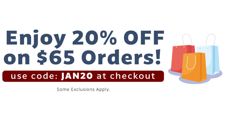 Use Code: JAN20 & Get 20% off when you spend $65!