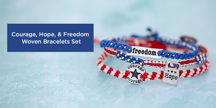 Courage, Hope, Freedom Woven Bracelets Set