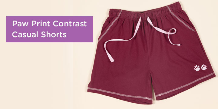 Paw Print Contrast Casual Shorts