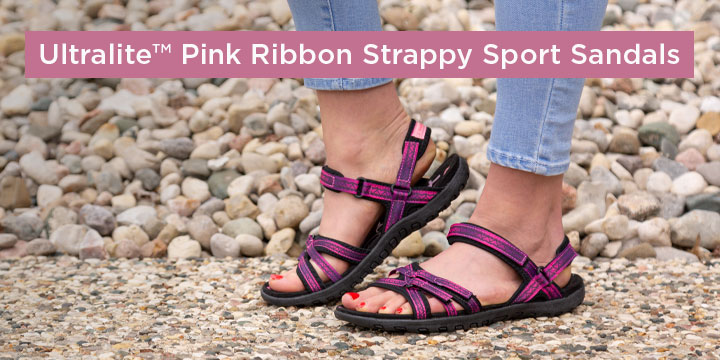 Ultralite™ Pink Ribbon Strappy Sport Sandals