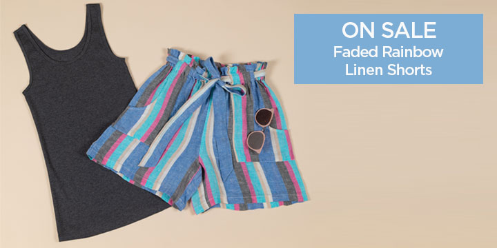 Faded Rainbow Linen Shorts