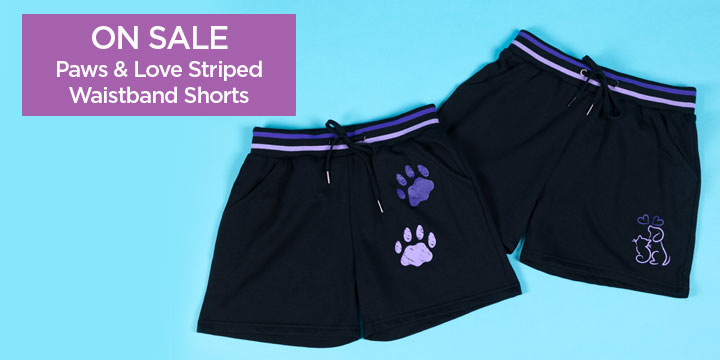 Paws & Love Striped Waistband Shorts