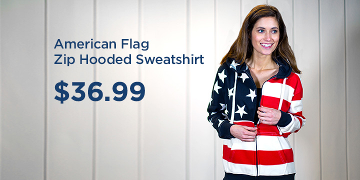 American Flag Zip Hooded Sweatshirt
