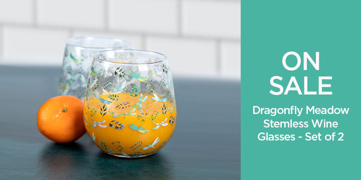 Dragonfly Meadow Stemless Wine Glasses - Set of 2