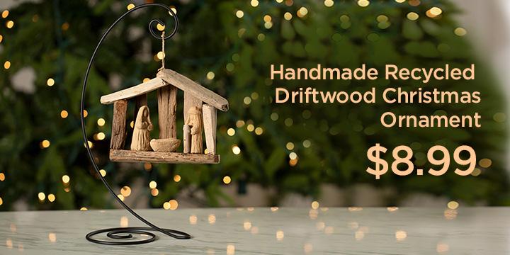 Handmade Recycled Driftwood Christmas Ornament