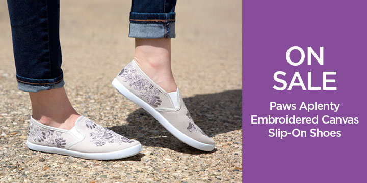 Paws Aplenty Embroidered Canvas Slip-On Shoes