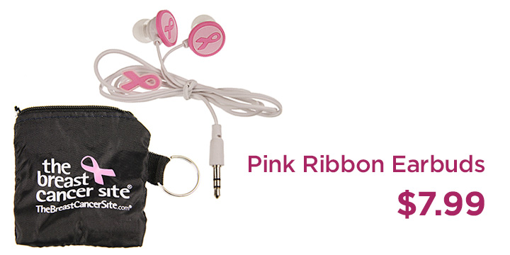 Pink Ribbon Earbuds
