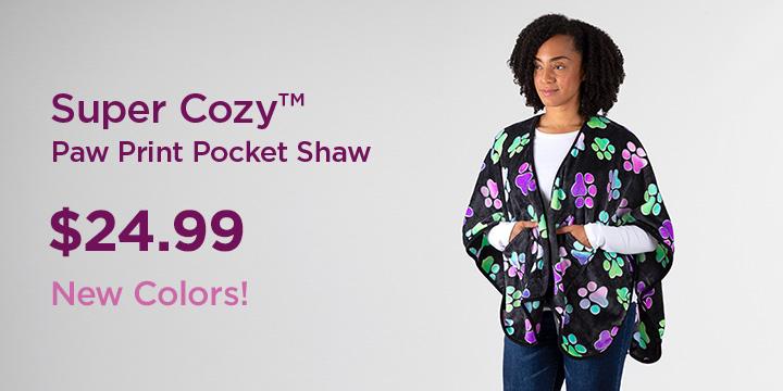 Super Cozy™ Paw Print Pocket Shawl
