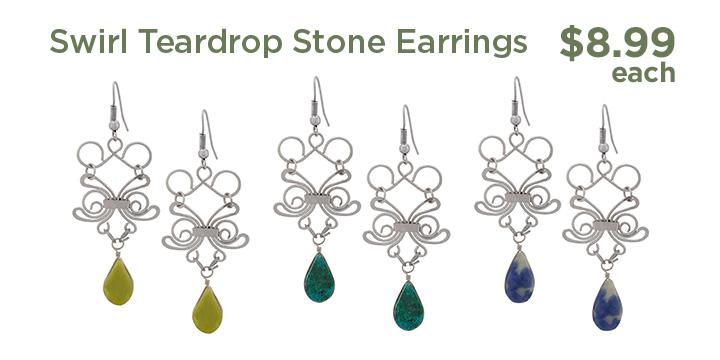 Swirl Teardrop Stone Earrings