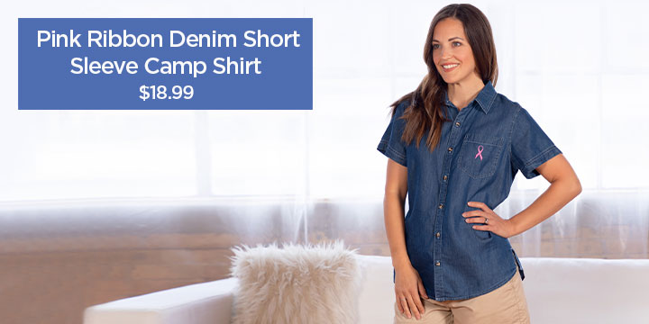 Pink Ribbon Denim Short Sleeve Camp Shirt