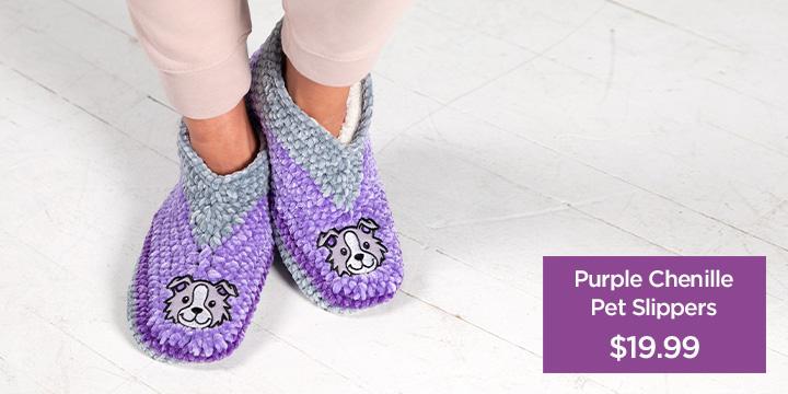 Purple Chenille Pet Slippers