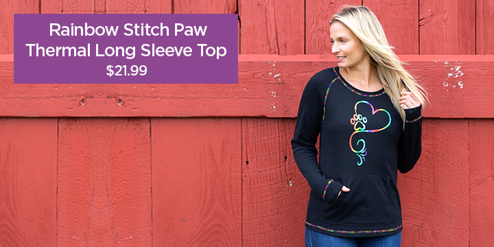 Rainbow Stitch Paw Thermal Long Sleeve Top