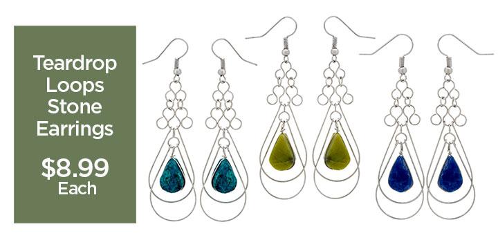 Teardrop Loops Stone Earrings