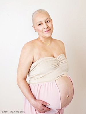 incredibly lovely pregnant woman with very little hair