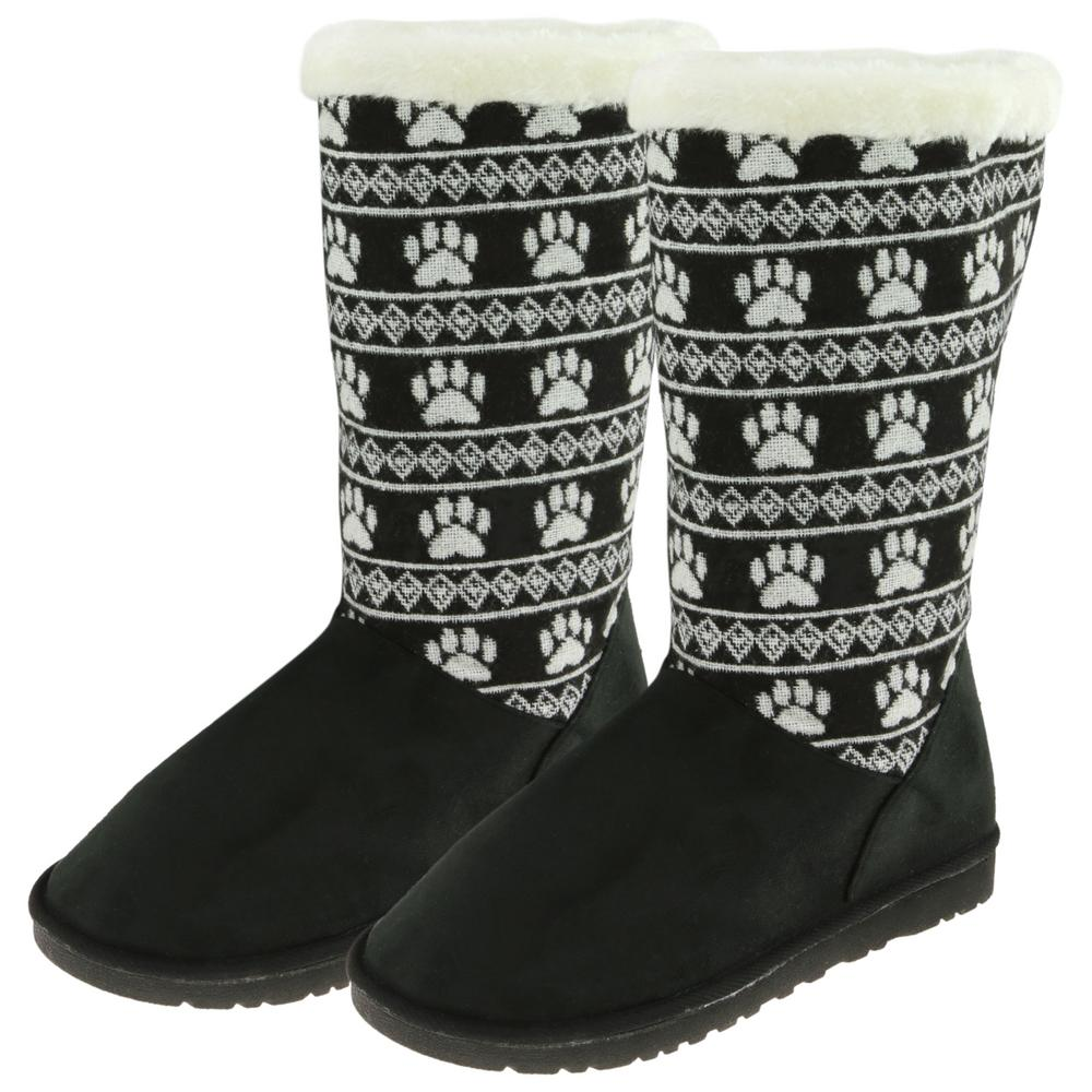 paw print knit boots the animal rescue site