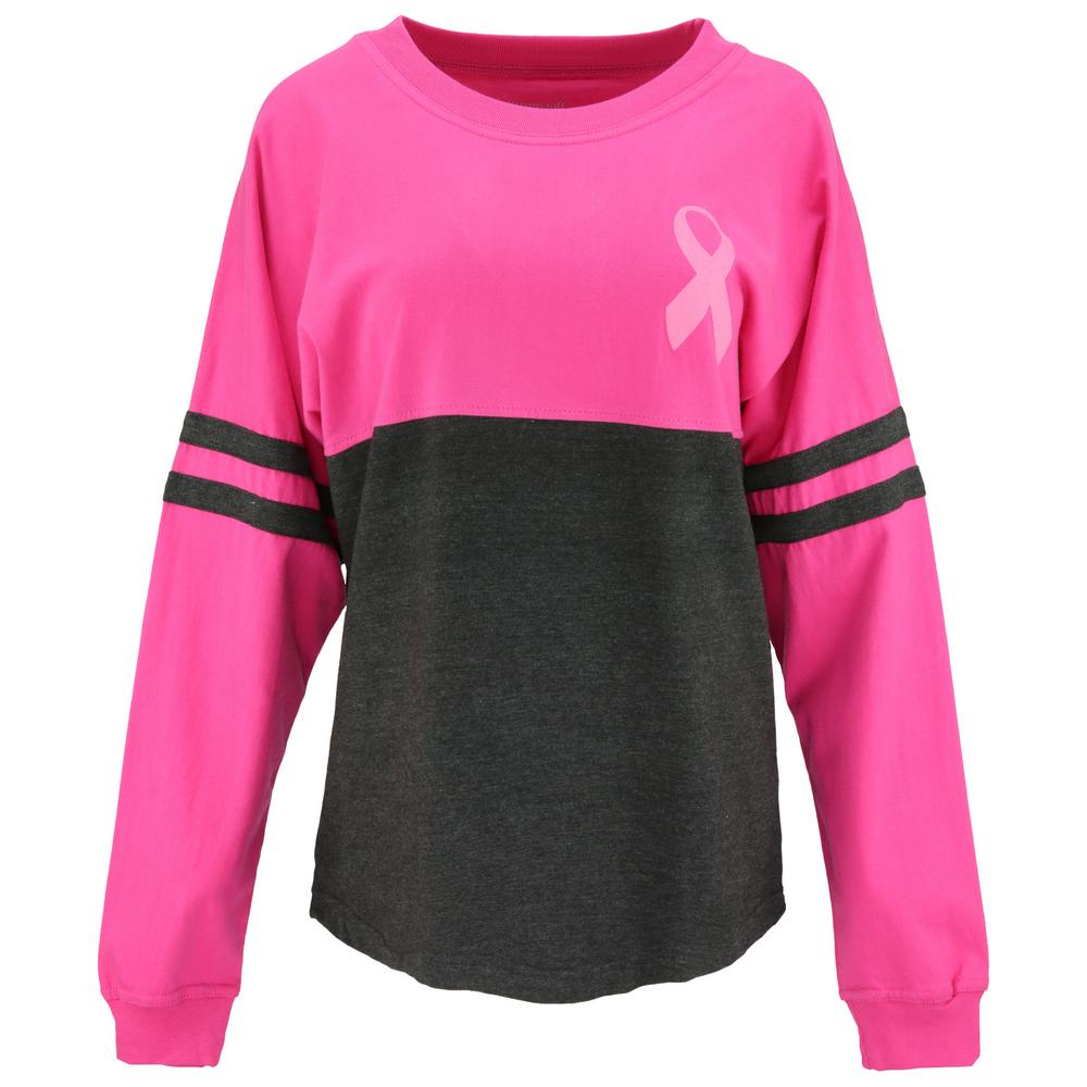 Pink Ribbon Believe Oversized Long Sleeve Tee : The Breast Cancer Site