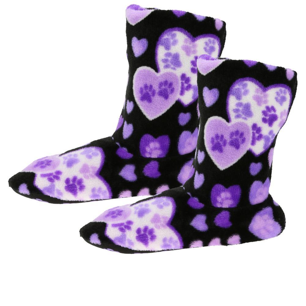 Super Cozy Fleece Paw Print Love Slipper Booties  The -1410