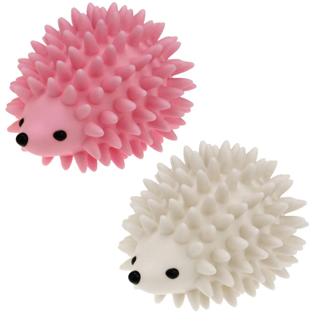 hedgehog pink  white dryer balls  set of   the animal rescue site - tap