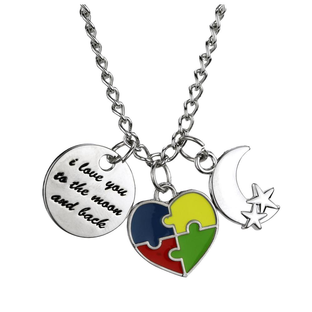 products pendant piece closeup sterling necklace silver my autism gold and puzzle