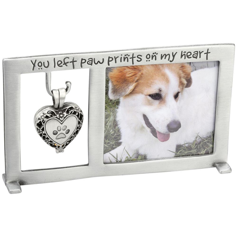 Paw Prints Memorial Frame & Heart Ashes Locket Set : The Animal ...