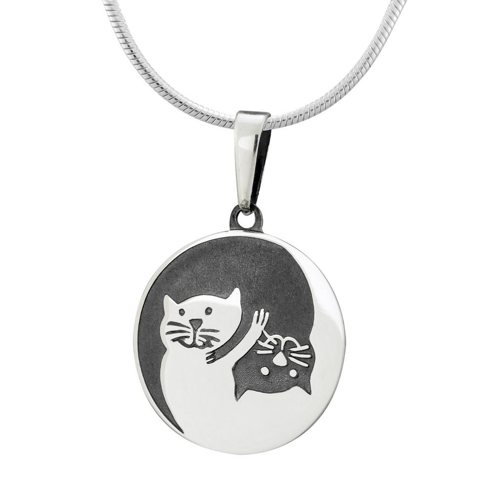 pendant lisa personalised jewellery necklace silver cat angel