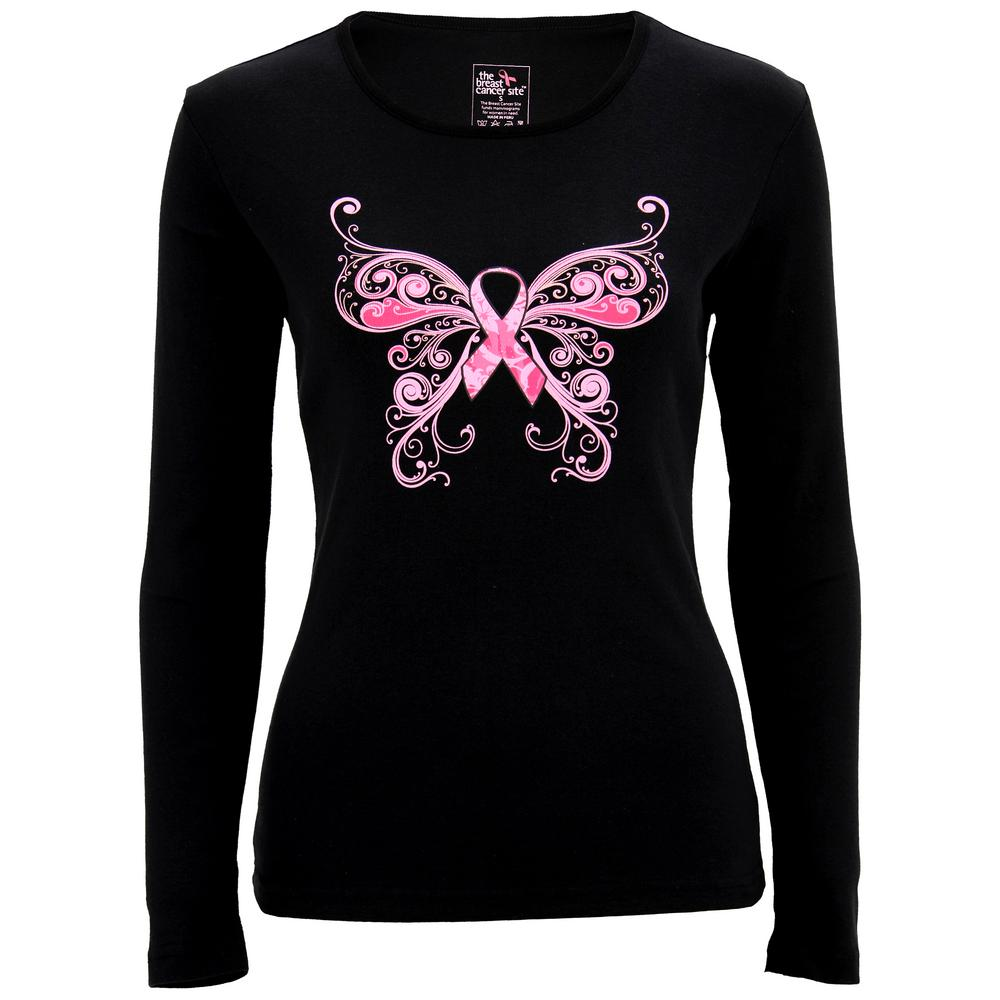 Pink Ribbon Butterfly Long Sleeve Tee : The Breast Cancer Site