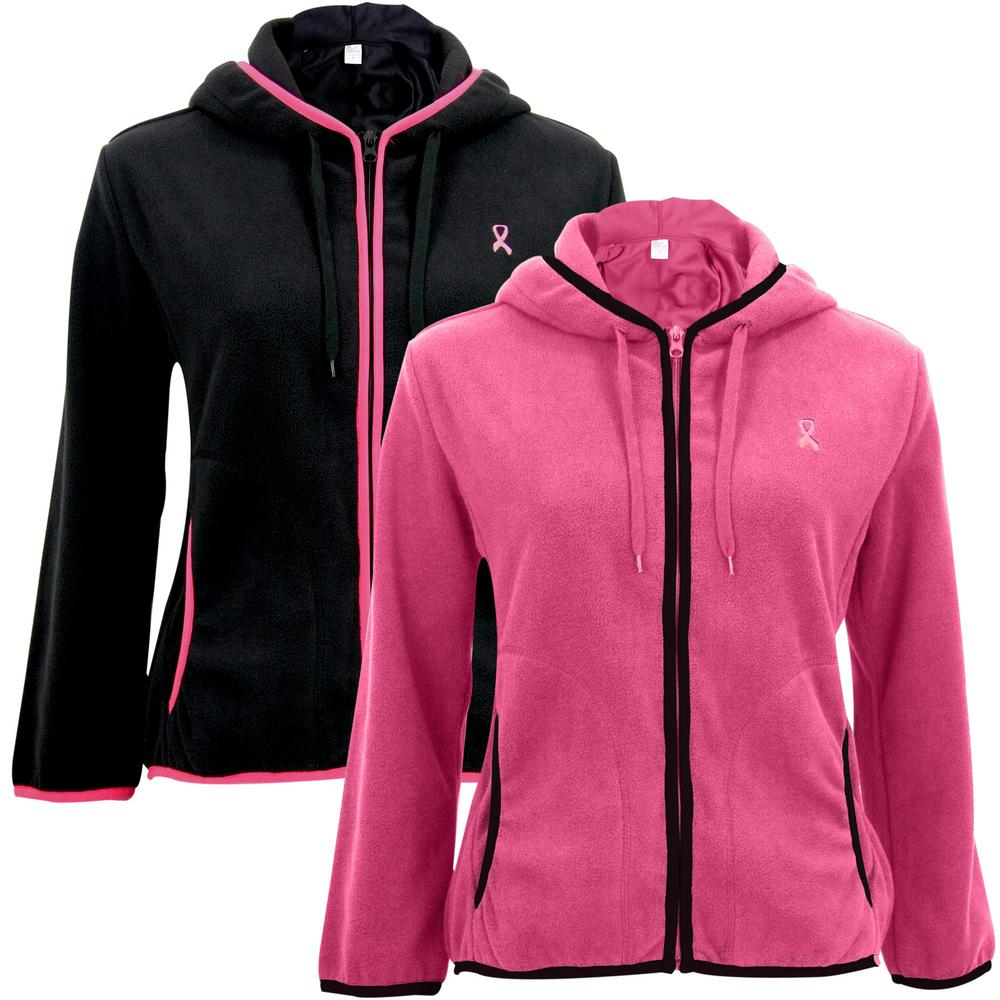 Pink Ribbon Trimmed Polar Fleece Jacket : The Breast Cancer Site