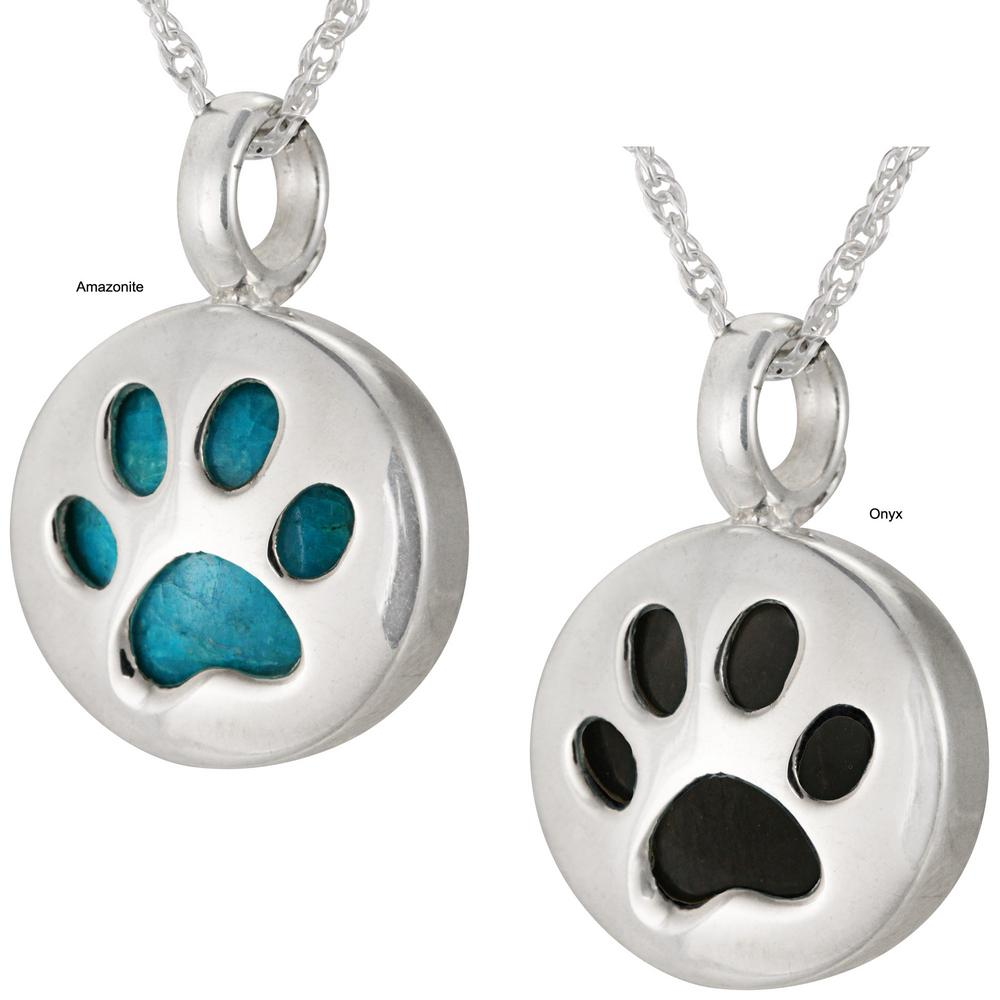 sterling pawprints srn bling heart jewelry necklace cut print silver paw out pendant