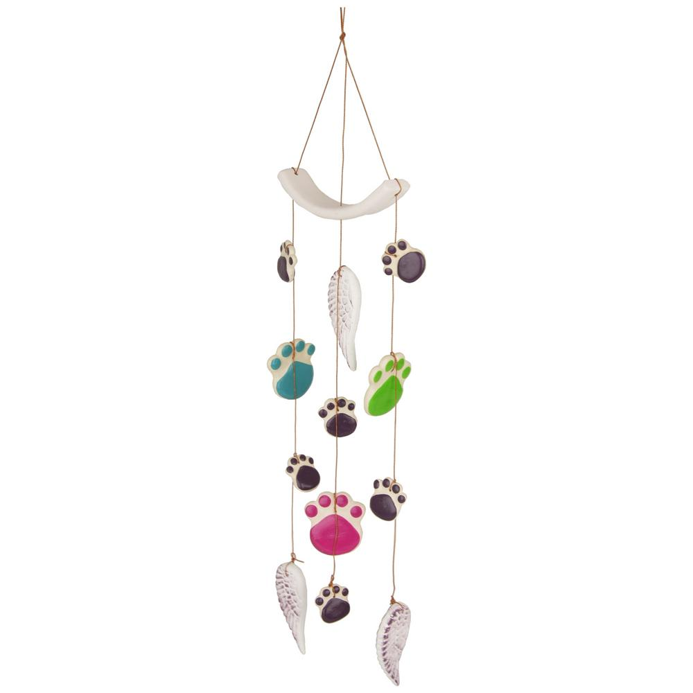 Paw Prints Amp Angel Wings Ceramic Wind Chime The Animal