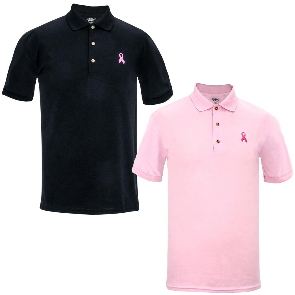 Men 39 S Pink Ribbon Polo Shirt The Breast Cancer Site