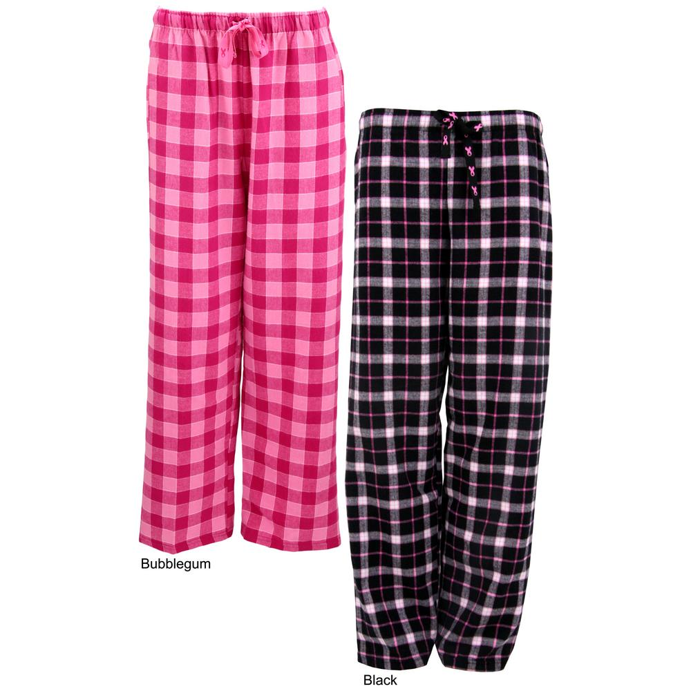 Pink Ribbon Plaid Flannel Lounge Pants : The Breast Cancer Site