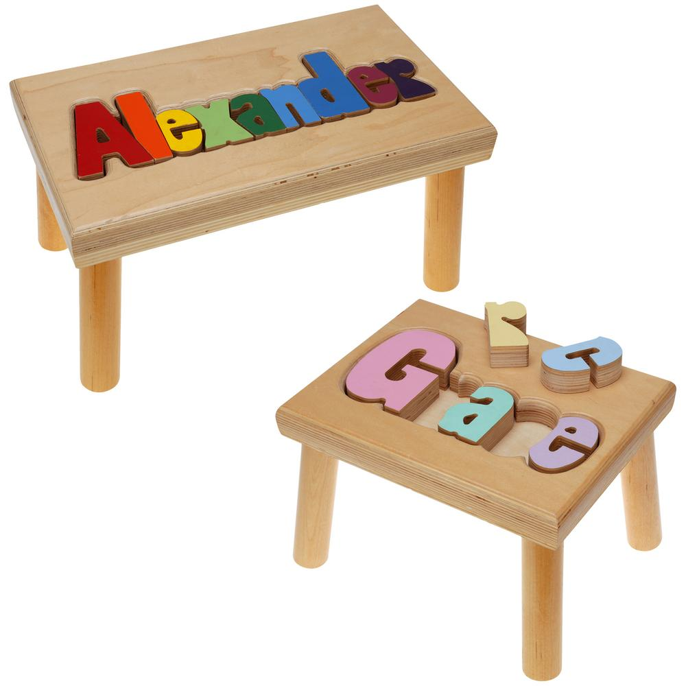 Personalized Name Puzzle Stool Maple Sensational
