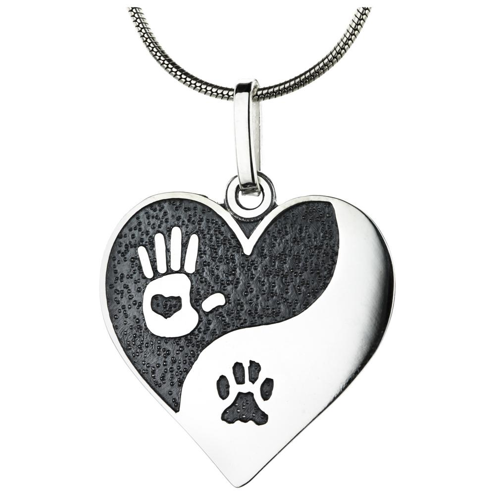 ls paw hand pawprint jewellery on heart charm print necklace