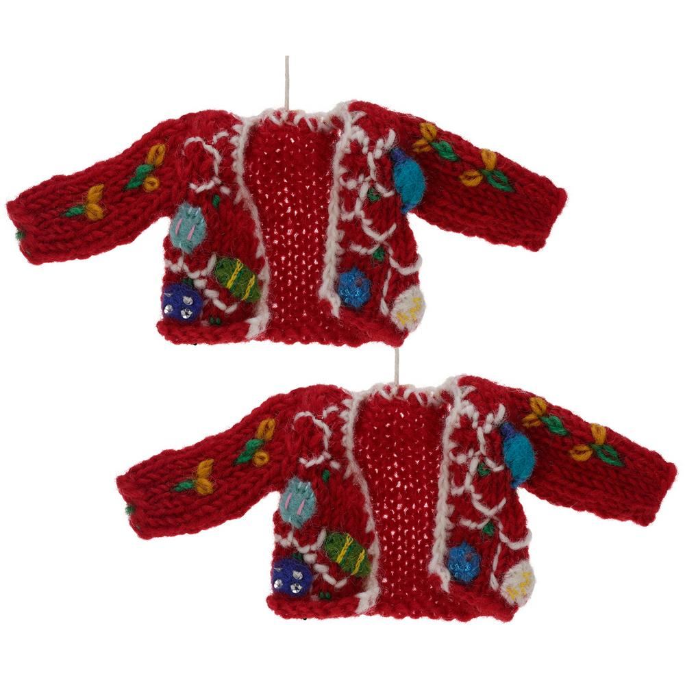 Christmas Lights Ugly Sweater Ornaments Set Of 2 The