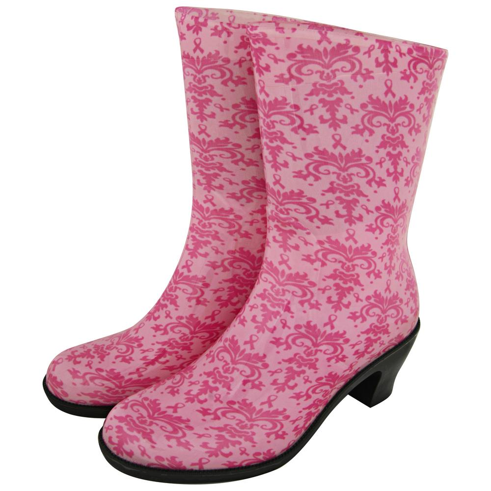 Ultralite™ Midrise Pink Ribbon Damask Rain Boots : The Breast ...