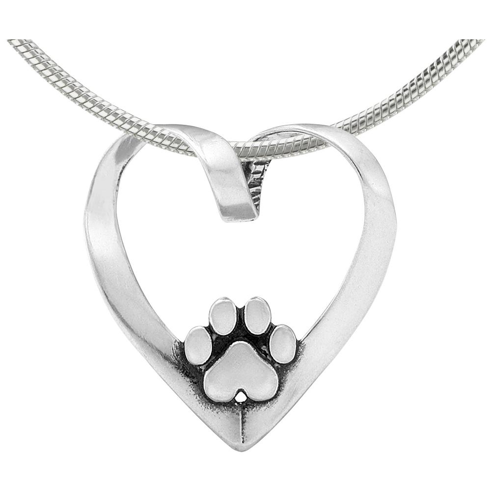 dogpawprintpendant animal grinstein rescue necklaces safari print pendant for necklace paw silver