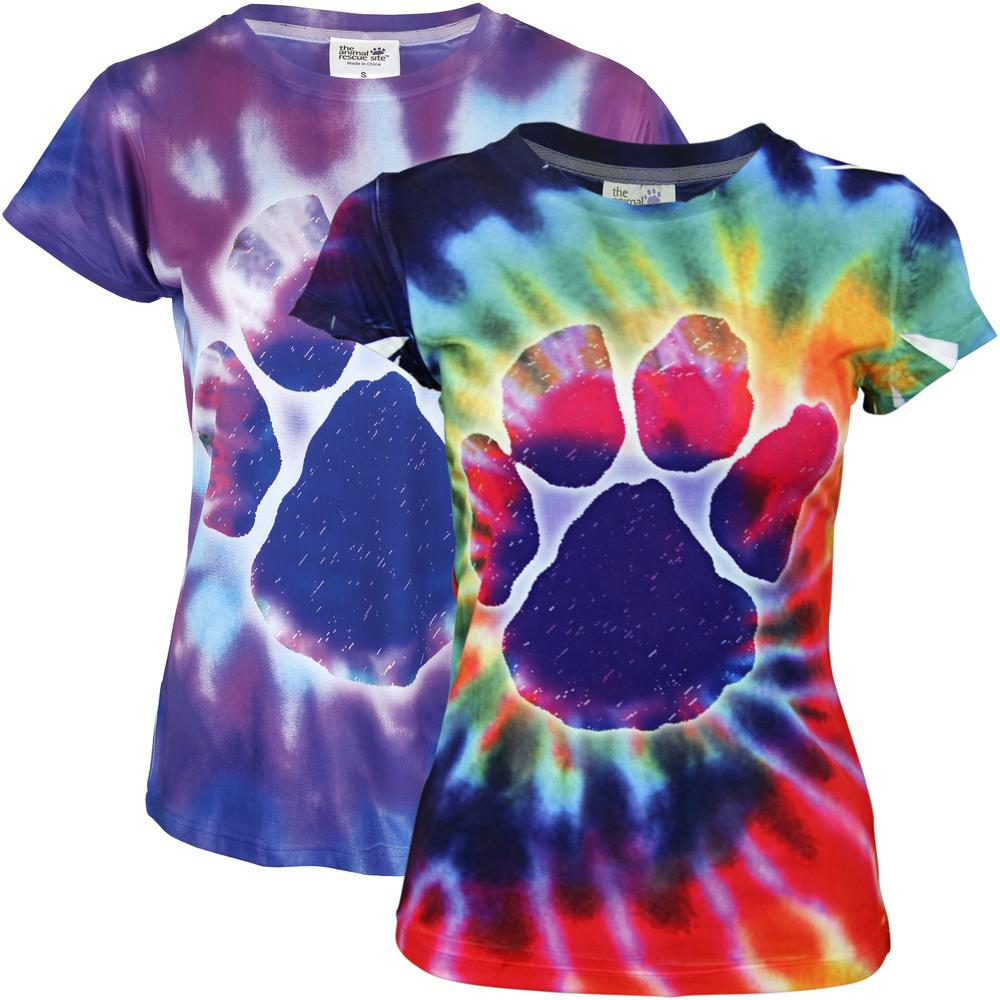 purple paw tie dye tee the animal rescue site. Black Bedroom Furniture Sets. Home Design Ideas