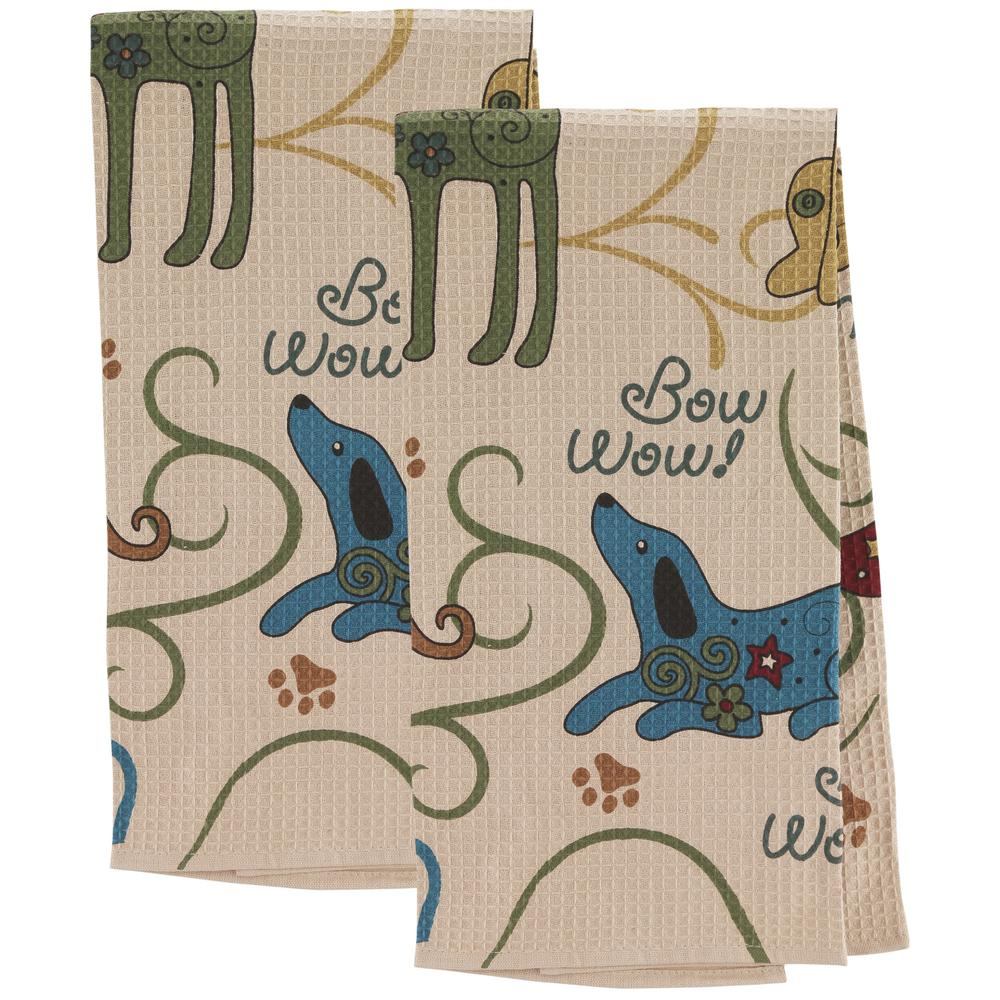 festival dogs kitchen towels - set of 2 : the animal rescue site