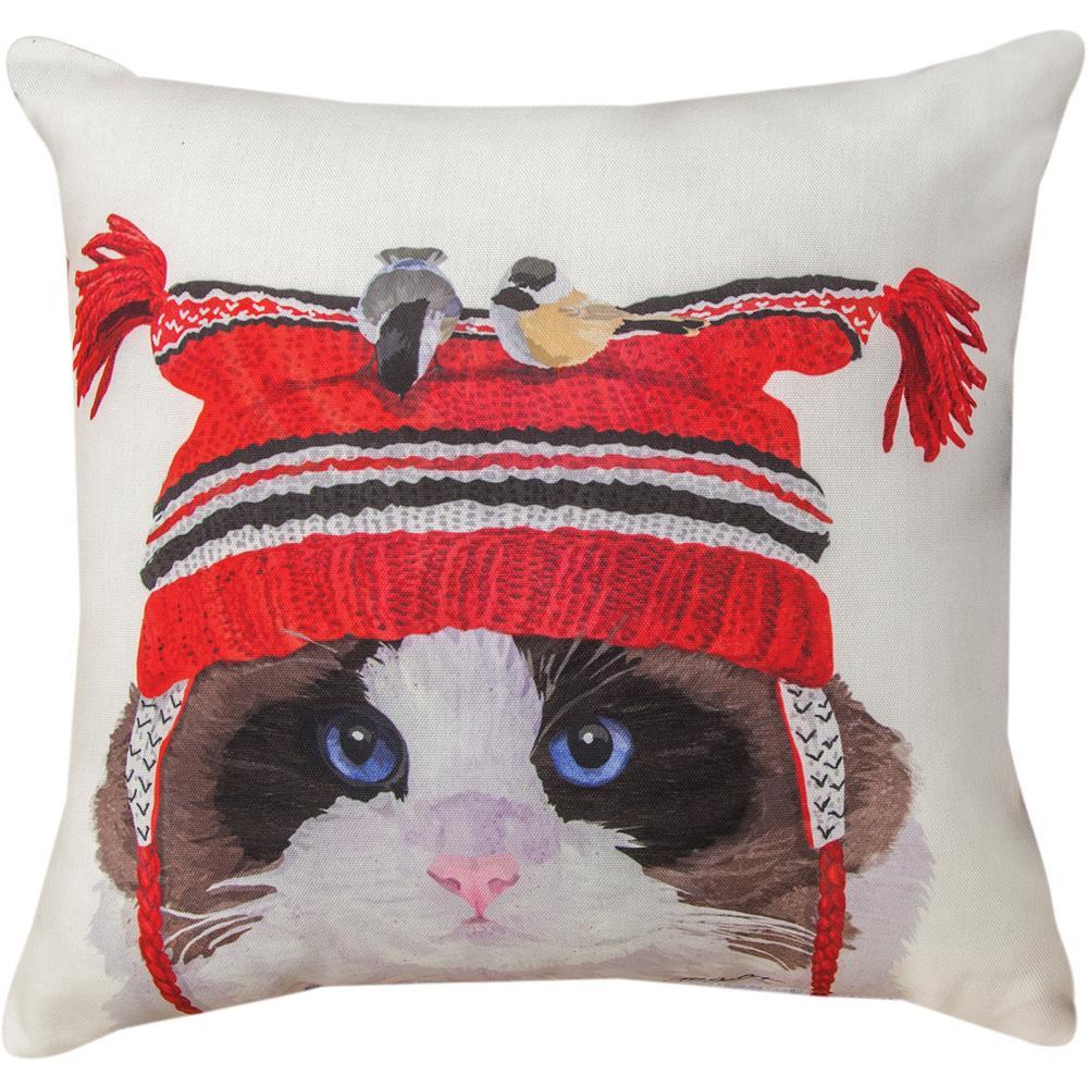 Wintertime Kitty & Birds Throw Pillow : The Animal Rescue Site