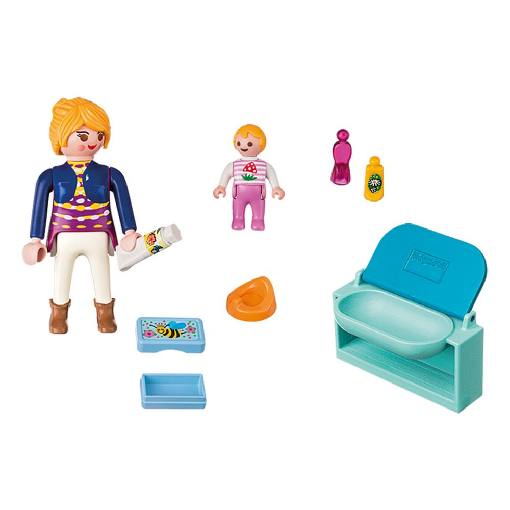 Playmobil mother child with changing table the animal for Table playmobil