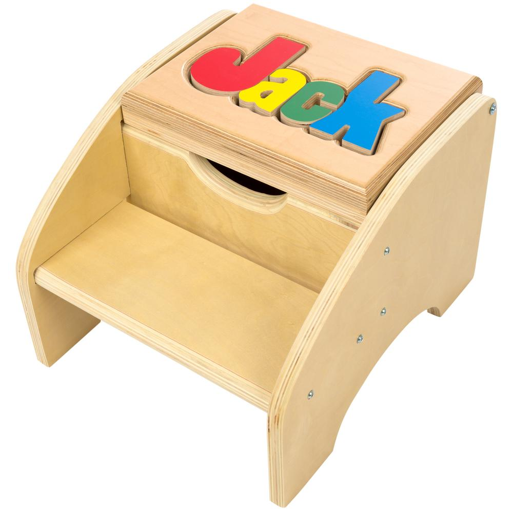 Personalized Two Step Storage Name Puzzle Stool The