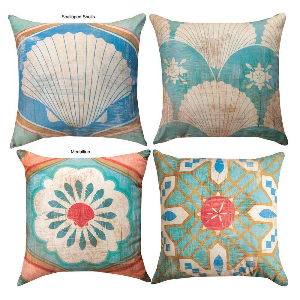 Bohemian Sea Tiles Indoor/Outdoor Throw Pillow : The Animal Rescue Site